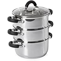 3 Cacerolas para cocinar al vapor, 18cm, acero inoxidable, de Tower