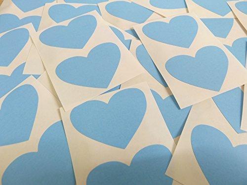 50x37mm Azul Claro Con Forma De Corazón Etiquetas, 40 auta-Adhesivo Código De Color Adhesivos, adhesivo Corazones para Manualidades y Decoración