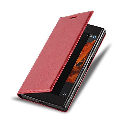 Cadorabo Hülle für Sony Xperia X Compact - Hülle in Apfel ROT - Handyhülle mit Magnetverschluss, Standfunktion & Kartenfach - Case Cover Schutzhülle Etui Tasche Book Klapp Style