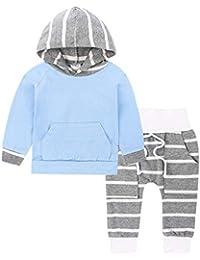 Xinwcanga Kleinkind Infant Baby Mädchen Jungen Kleidung Outfits Set Streifen Kaputzenpulli + Hosen