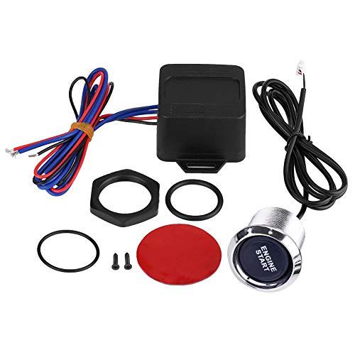 Keenso Kit de démarrage universel 12 V pour voiture avec bouton poussoir et LED bleue