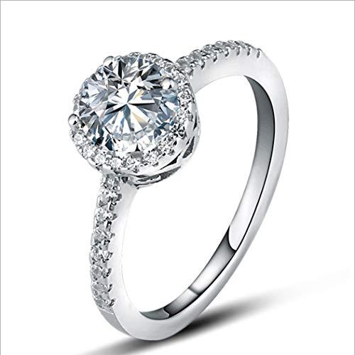 YOYOYAYA Ring S 925 Silber Simulator 1 Carat Künstliche Diamanten Schmuck Frauen Mädchen Datum Hochzeit, 15
