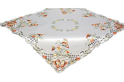 Espamira TischdeckeMitteldecke Creme Schmetterlinge Orange Gestickt Decke Frühling Sommer (Mitteldecke 85x85 cm eckig) (Orange-blumen-tischdecke)
