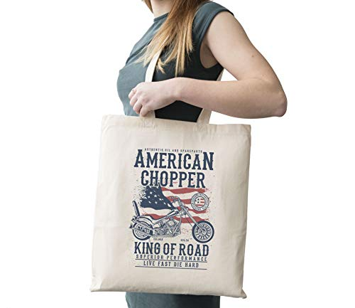 American Chopper Motorcycle Flag King Of Road Cotton Canvas Tote Carry All Day Bag -