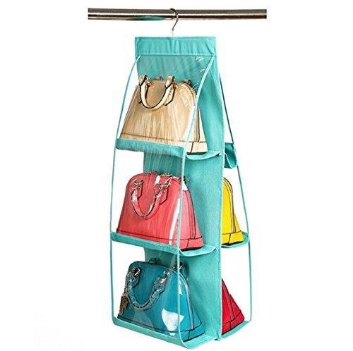 Santwo 6tasca borsa copertura antipolvere Borse Armadio da Appendere Trasparente Purse porta scarpe risparmio di spazio, Light Blue (multicolore) - BB0082
