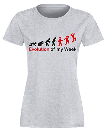 Evolution of my Week - Evolution meiner Woche - Damen Rundhals T-Shirt Grau/Schwarz-rot
