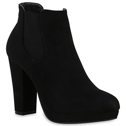 Gefütterte Damen Plateau-Boots Block Absatz Stiefeletten Schwarz