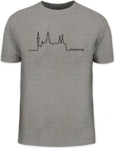 Shirtstreet24, Skyline Hamburg, Herren T-Shirt Fun Shirt Funshirt, Größe: M,graumeliert