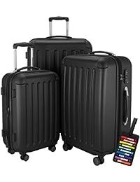Hauptstadtkoffer® Set di valigie 49+82+128 litri con un lucchetto TSA Seria SPREE (Colore Nero con 1 ciondolo per la valigia)