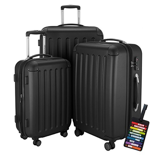 HAUPTSTADTKOFFER Hartschalen Koffer SPREE 1203 · NEU 4 Doppel-Rollen · MATT · TSA Zahlenschloss · + KOFFERANHÄNGER (Schwarz, Set)