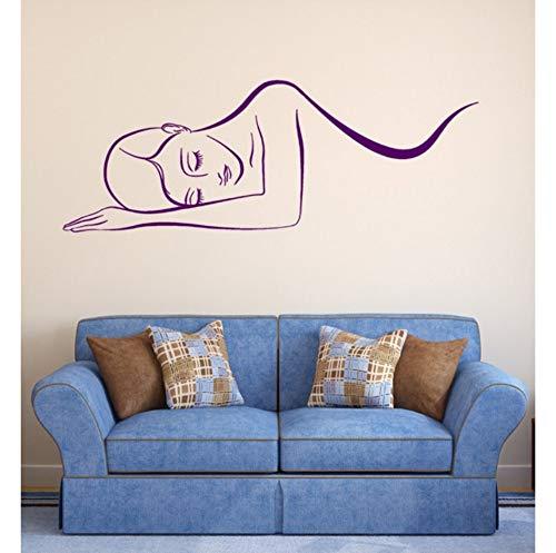 Beautiful Woman Vinyl Pattern Wall Decal Girls Beauty Salon Spa Massage Wall Stickers Livingroom Relax Self Window Decor 42x104cm