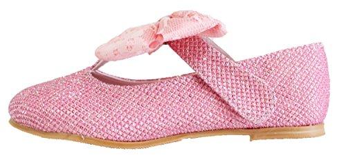 howlovelyis de Petite Fille En Émail Argent Mary Jane Plat Chaussures Rose