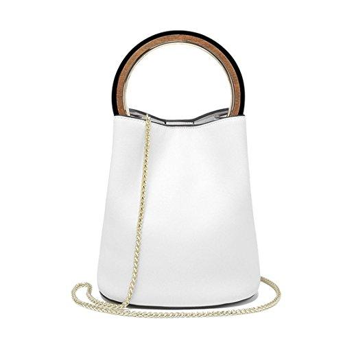 Maod Damen Stylish PU Leder Einfarbig Handtasche Freizeit Henkeltaschen Frauen Shopper Taschen Metall Umhängetasche Rund Hölzern Griff Beuteltasche (Weiß)