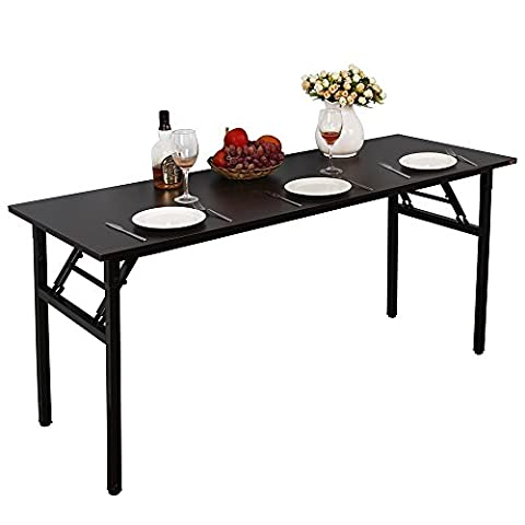 Need Computer Desk Workstation Home Office Folding Table Company Use Desk Sturdy Wooden Desk Board-room Conference Table Large Size 140x60cm,Black