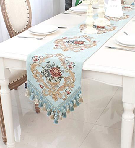 Tischläufer Barocke Aqua Blau Dreieck Im Europäischen Stil, Rechteckigen Vintage Tabelle Runner...