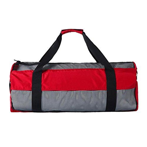FLAMEER Dive Gear Bag Schwere Mesh Duffle Tasche Für Das Tauchen Scuba Snorkel Surf Schwimmen Flossen Maske Brille Neoprenanzug - Rot