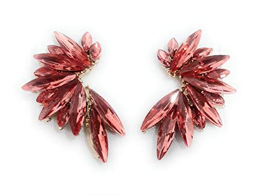 2 - Pendientes Cristales Colores Mujer Pendientes Fiesta Boda Medio Aro, Chapado Oro Coral