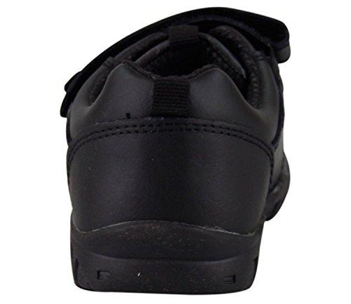 Neue Schule für die Kids Classic Kinder schwarz Schuhe Boys Lederstiefel Velcro-Trainer Black