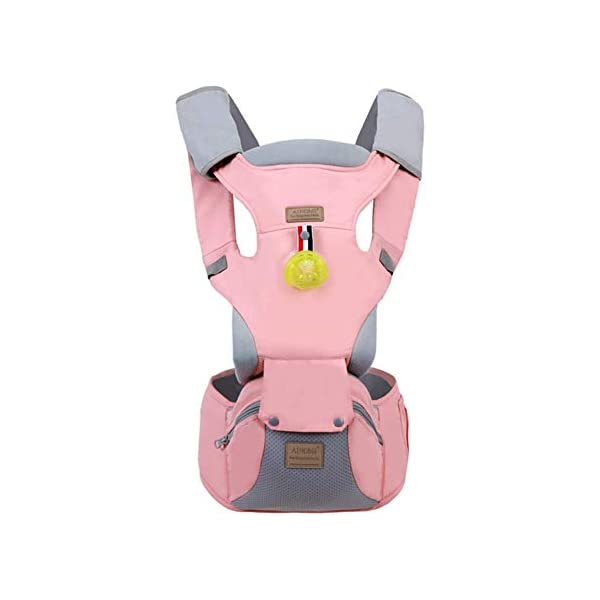 Baby Carrier, Sunzit Ergonomic Baby Carriers Breathable Mesh Adjustable Backpack with Hip Seat All Seasons Baby Carriers Backpack Newborn to Toddler - Pink Sunzit 【Ergonomic Design】: The auxiliary spine micro-C structure and leg opening design, natural M-type sitting.Thickening sponge soft filling, effectively relieve Mommy abdominal force. We add anti-wear pads in the armpit and thighs to protect the baby's skin. 【Upgraded breathability】: 3D mesh and breathable design of waist belt increase the overall breathability of the baby carrier by 30%, especially suitable for spring and summer. 【MATERIAL】: The baby carrier is made of 100% skin-friendly cotton fabric, the baby carrier would cradle your baby comfortably; Unique comfort pad prevents back pains from squeeze of back buckle; Anti-scratch edges, designed with cotton fabric, help avoid injuries to baby's legs from scratches; Breathable mesh fabric accelerates air flow for added comfort 1