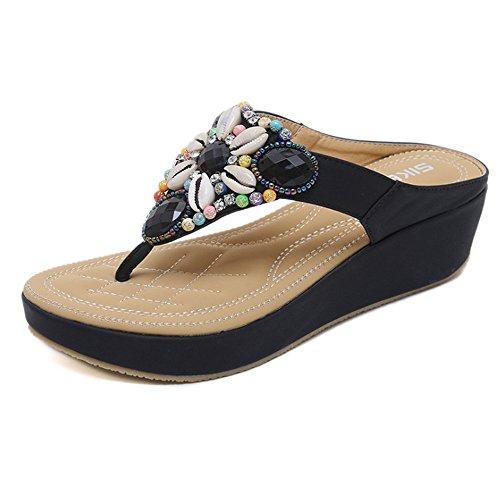 Donne infradito perline di bohemian con scarpe da spiaggia sandali punta di grandi dimensioni (colore : nero, dimensione : 40 eu)