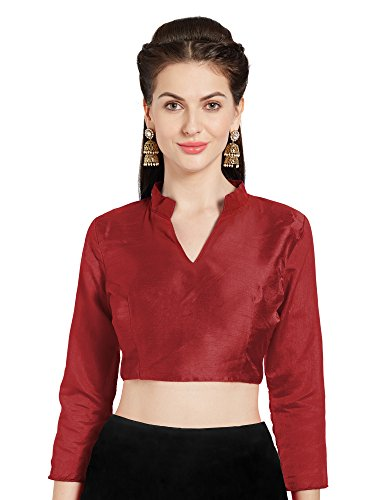 Mirchi Fashion Frauen rot Kunst Seide Readymade Party Saree Bluse chinesischen Kragen Choli Top -