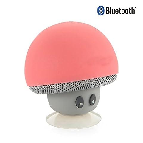 E-Plaza Sans fil Bluetooth Haut-parleur Mini Creative Champignon Aspiration Coupe avec MIC pour iPhone Samsung HTC Phone iPad Comprimés (Pêche)