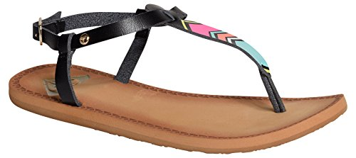 Roxy Dominica J, Tongs femme Multicolore (Black)
