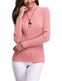 Abollria Womens Turtle Neck Long Sleeve Chunky Knit Ribbed Sweater Jumper  Knitwear Top ad1297f96