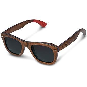 Navaris occhiali da sole in legno UV400 - occhiali unisex con montatura in legno Skateboard e lenti TAC polarized - lenti diversi colori