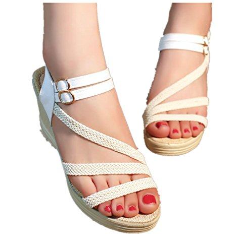 Sandales Compensées Vacances Femme Cheville Chaussures Multi R43jL5Aq