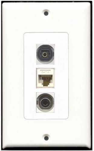 RiteAV-1Port Toslink und 1Port 3,5+ 1Port Cat6Ethernet White Decora Wall Plate Decora Decora Insert Plate