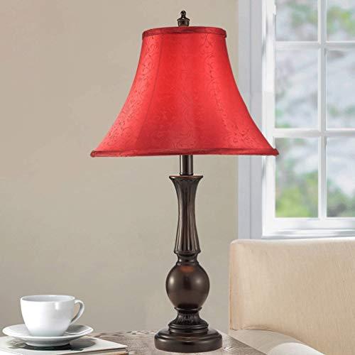 Konvertierung Outlet (Europäische Schreibtischlampe Einfache moderne Tischlampen Schlafzimmer Wohnzimmer Arbeitszimmer Dekoration Leuchte Lampe Nachttischlampe (Color : Red))