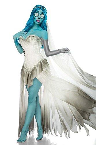 Damen Geister Braut Kostüm Leiche Verkleidung aus Kleid, Schleier, Perücke in weiß blau Coragen Kleid S