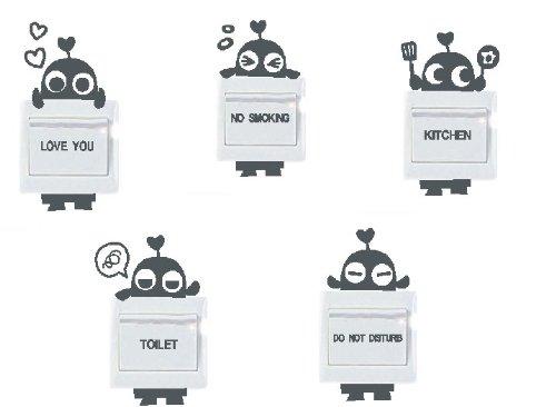 lote de vinilo decorativo pegatina pared, para interruptor o enchufe (Varios colores a elegir)- lote 5 robots