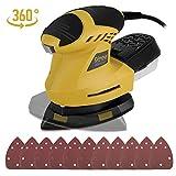 Ponceuse Vibrante, Ginour Ponceuse électrique 200W Rotative 360° 12000 RPM Multi Ponceuse avec Papier Abrasif 11Pcs, Cordon 3M, Système de Collection de...
