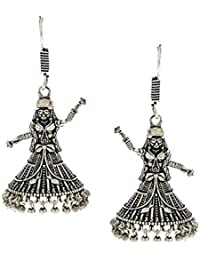 Anuradha Art Silver Finish Styled With Dancing Doll Fancy Oxidised Jhumki/Jhumkas Earrings For Women/Girls