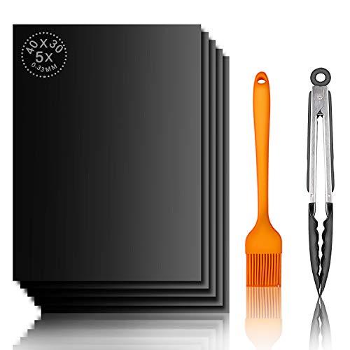 TTKLLLL 5 Stück BBQ Grillmatte, FDA-geprüft, PDFA-frei, antihaftbeschichtet, Wiederverwendbare Backmatten für Elektrogrills, Gas, Holzkohle, Ofen - 22,9 cm Grillzange und Silikonbürste
