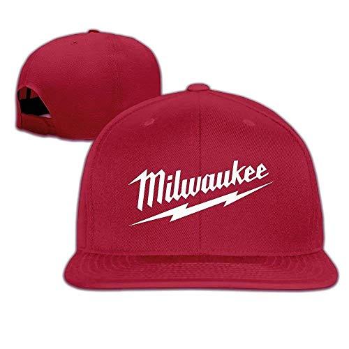 HOP caps Milwaukee Logo Unisex Adults Cotton Snapback Hat Flat Baseball Cap Black
