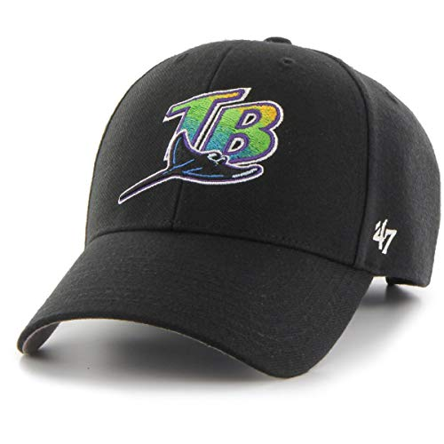 47 Brand Tampa Bay Devil Rays Cooperstown MVP Adjustable MLB Cap Schwarz, One Size (Tampa Bay Rays Baseball)