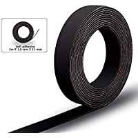 Magnetband Selbstklebend,Magnetisches Magnetstreifen Extra Starke Haftkraft an Whiteboard Magnet für Stifte, Karteikarten, Fotos etc (3M,Schwarz)
