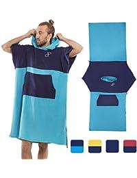 Poncho Toalla con Capucha para la Playa, baño, Surf, natación - 100% algodón, Secado rápido - Albornoz - Robe Cambiador, por Adulto,…