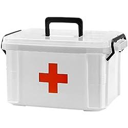 Giplar 2 Couches Trousse de Secours Mallette médicale avec Compartiment de Rangement pour Ranger Les Médicaments - 34x25x19cm