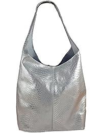5479741c00637 Freyday Damen Ledertasche Shopper Wildleder Handtasche Schultertasche  Beuteltasche Metallic look