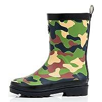 Outee Boys Kids Wellies Wellingtons Rain Boots Camo Waterproof Rubber Boots Children Green Rear Puller Cute Design (Size 1,Green)