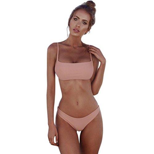 Mitlfuny Bandeau-Bandage Bikini-Set Push-Up brasilianische Bademode Beachwear Badeanzug (rosa, ()