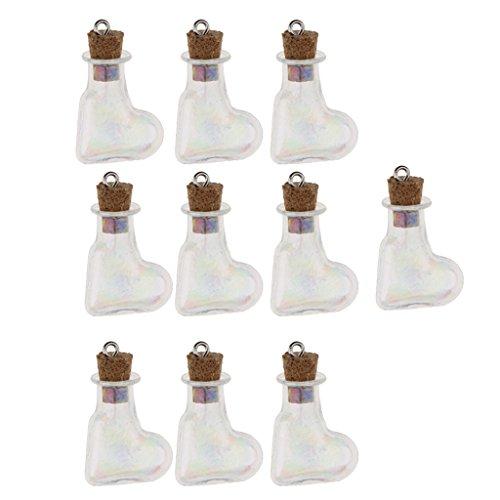 Herz-parfüm-flasche (Homyl 10 Stücke Mini Glasflasche mit Kork Kleine Glasflasche Mini Flaschen mit Korkstopper DIY Parfüm-Flaschen - Schiefes Herz)