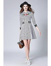 kekafu mujer va/Diario casual simple vestido de camisa a rayas, cuello V por
