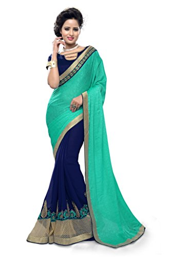 SOURBH Women's Jacquard and Faux Georgette Saree (2587_Teal,Blue)  available at amazon for Rs.1295