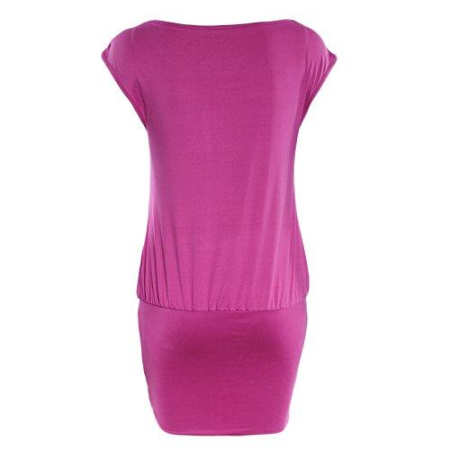 Frauen Mode Rundkragen Kurzarm Spleiß Falten Beiläufige Kleid Minikleid Beachwear Freizeitkleid Strandkleider Etuikleider Freizeitkleider Violett