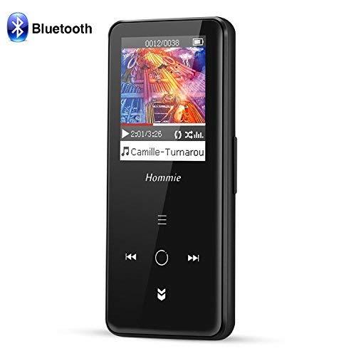Bluetooth 8 GB MP3 Player mit Touchscreen, 1,8-Zoll-HD-Farbbildschirm verlustfreie Metall Musik Player, bis zu 128 GB, Hommie J3, Schwarz